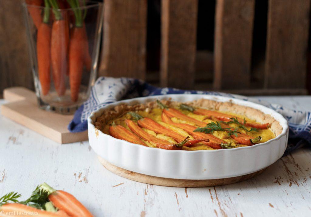 Ei-freie Quiche mit Kichererbsenmehl und Karotten