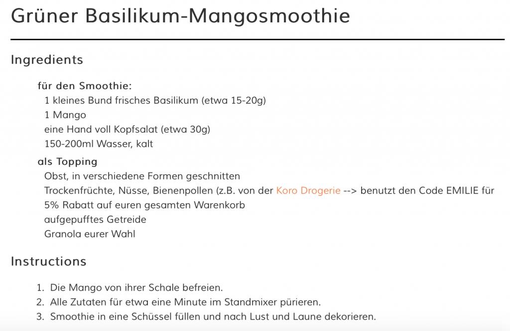 Grüner Basilikum-Mangosmoothie