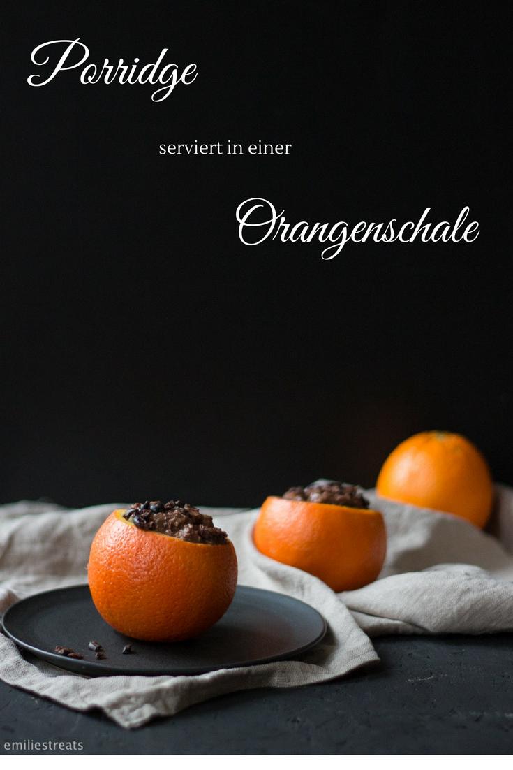 Was für eine tolle Idee! Schokoladen-Porridge serviert in einer Orangenschale